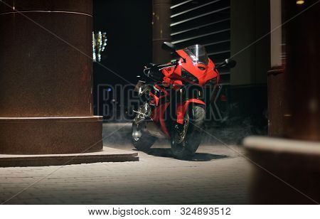 Krasnoyarsk, Russia - September 23, 2019: Red And Black Sportbike Honda Cbr 600 Rr 2005 Pc37 On The