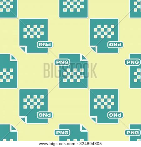 Green Png File Document. Download Png Button Icon Isolated Seamless Pattern On Yellow Background. Pn