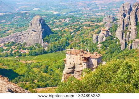 The Monastery of Rousanou on the cliff in Meteora, Kalabaka, Greece - Greek landscape