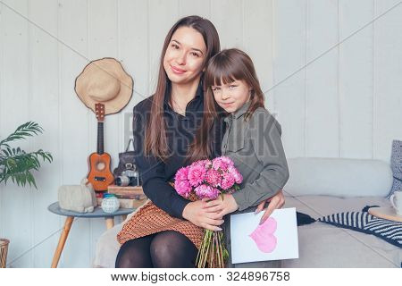 Little Girl With Mom On Mothers Day