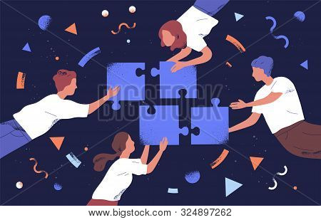 Teamwork And Team Building Flat Vector Illustration. Coworkers Assembling Jigsaw Puzzle Cartoon Char