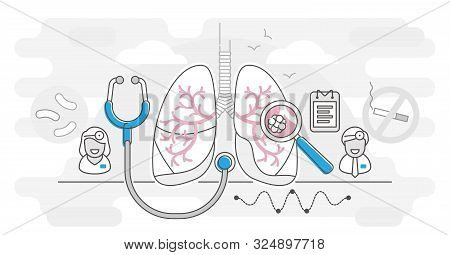 Pulmonology Vector Illustration Outline Concept. Lungs Healthcare Concept. Abstract Respiratory Syst