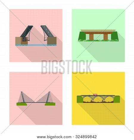 Vector Illustration Of Bridgework And Bridge Sign. Collection Of Bridgework And Landmark Stock Vecto
