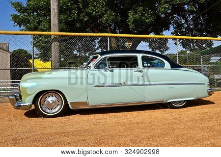 Yankton, South Dakota, August 16, 2019: A Classic Restored 1950 Mercury Monterey Is Displayed At The
