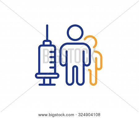 Medicine Vaccine Sign. Medical Vaccination Line Icon. Pharmacy Medication Symbol. Colorful Outline C