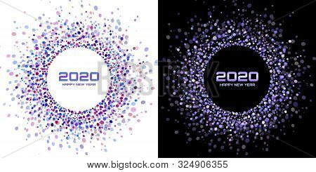 New Year 2020 Night Background Party Set. Greeting Cards. Violet Glitter Paper Confetti. Glistening