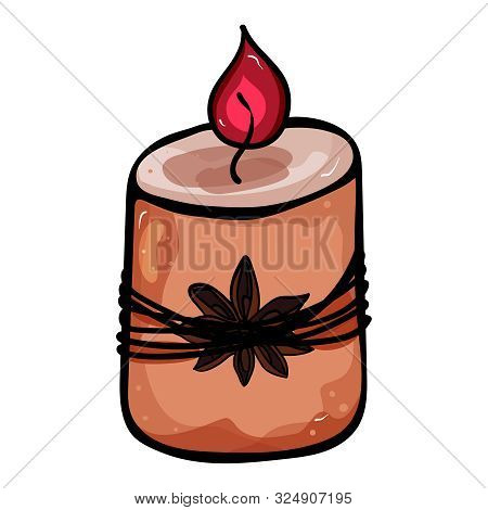 Paraffin Candle. Accessory For Comfort. Season Is Winter Or Fall. Warmth And Comfort. - Vector. Vect