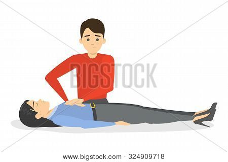 Man Doing Cpr. Unconscious Woman Lying On The Floor