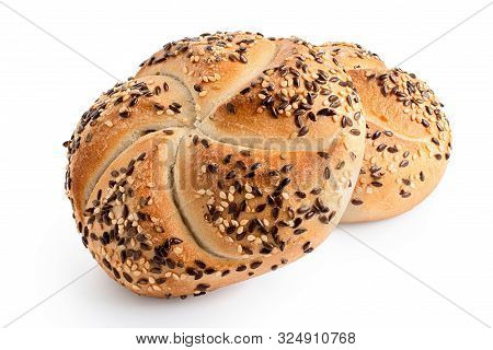 Two Traditional White Kaiser Rolls With Linseeds And Sesame Seeds Isolated On White.