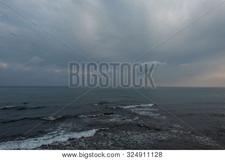 Beautiful Sea With Waves And Sky With Clouds In The Evening For Background. Ocean Horizon. Nice Seas