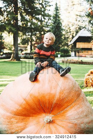 Smiling Boy Sits On Huge Size Pumpkin. Child Playing On Harvest Festival At Autumn Time. Little Kid