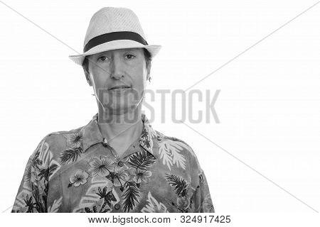 Portrait Studio Shot Of Mature Man In Black And White
