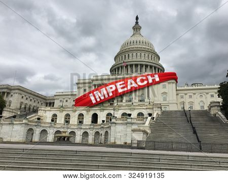 Impeach And Impeachment Concept As United States Congress Votes On Legislation For Impeaching A Pres