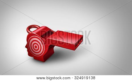 Whistleblower Target And Whistle Blower Targeted For Exposing Corruption And As A Red Whistle Shaped