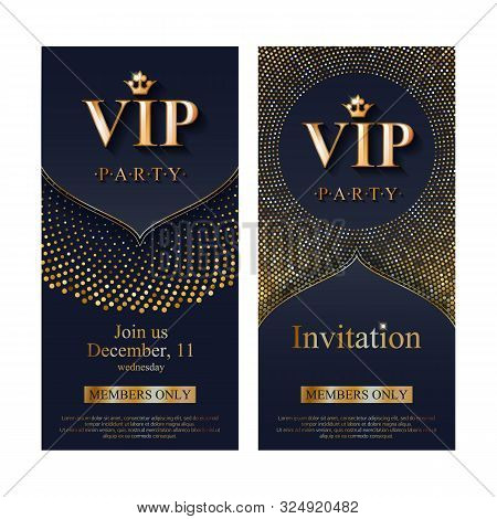 Vip Club Party Premium Invitation Card Poster Flyer. Black And Golden Design Template. Sequins And C