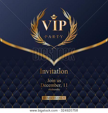 Vip Party Premium Invitation Card Poster Flyer. Black And Golden Design Template. Golden Glitter Bur