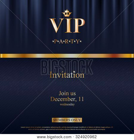 Vip Party Premium Invitation Card Poster Flyer. Black And Golden Design Template. Black Theater Curt