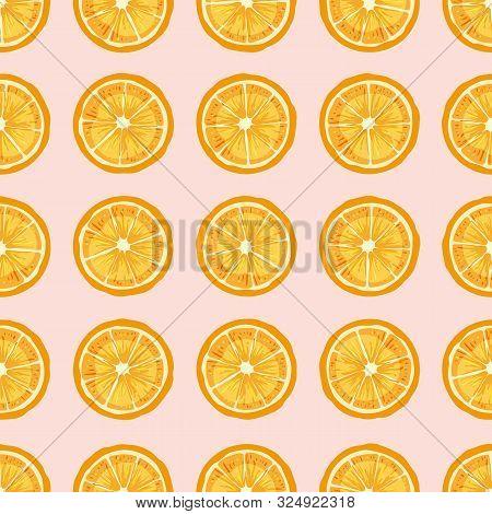 Citrus Fruit Slices Hand Drawn Vector Seamless Pattern. Delicious Orange Pieces Texture. Fresh Lemon
