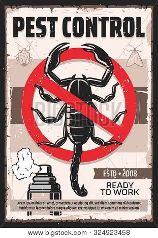 Pest Control Service Vintage Poster, Professional Home Disinsection. Vector Dangerous Insects Exterm