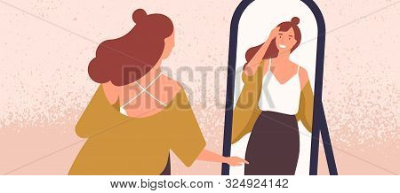 Beautiful Woman Looking At Mirror Flat Vector Illustration. Self Acceptance And Confidence Concept.