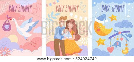 Set Of Baby Shower Invitation Templates With Happy Parents, Flying Stork And Dormant Crescent. Vecto