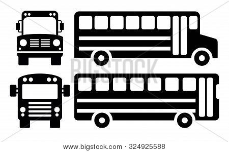 Vector School Bus Icons Isolated On White Background. Black And White Illustration Of School Bus