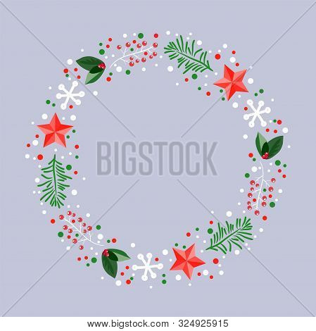 Vector Christmas Holiday Design With Red Star, Snowflake, Pine Tree Sprigs And Red Berries. Winter X