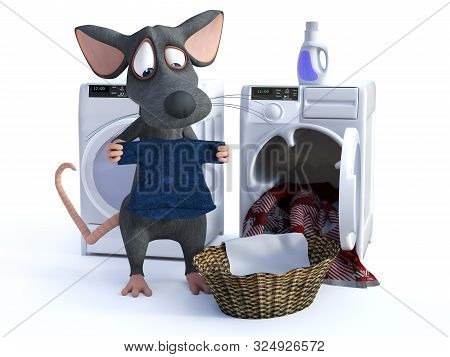 3d Rendering Of A Cute Smiling Cartoon Mouse Putting Clothes In A Washing Machine, Doing His Laundry