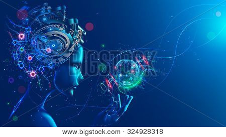 Artificial Intelligence In Image Of Cyborg Girl With Electronic Brain. Neural Network Trained Using