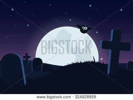 Halloween Spooky Flat Vector Background. Scary Graveyard At Night Cartoon Illustration. Horror Moon,