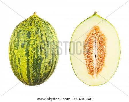 Futuro melon with cross section isolated on white