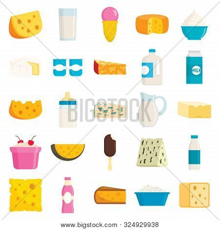 Collection Of Different Milk Products In Flat Style. Ice Cream, Cheese, Product Of Milk Fresh In Gla
