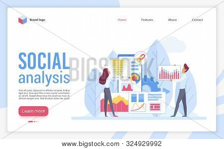 Social Analysis Landing Page Flat Vector Template. Web Analytics Website Design Layout. Sociological