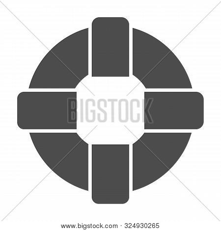 Lifebuoy Solid Icon. Lifesaver Vector Illustration Isolated On White. Life Ring Glyph Style Design,