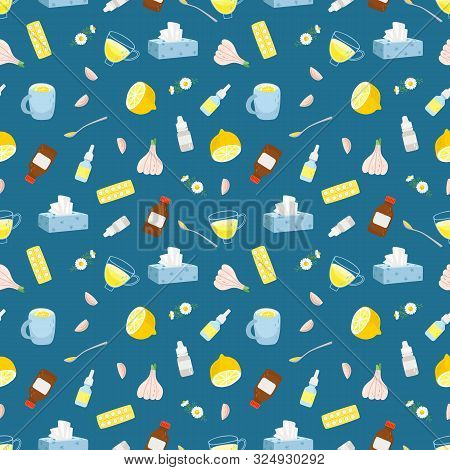 Cold Remedies Seamless Pattern. Winter Cold And Flu Health Remedy Vector Texture, Syrup With Lemon A