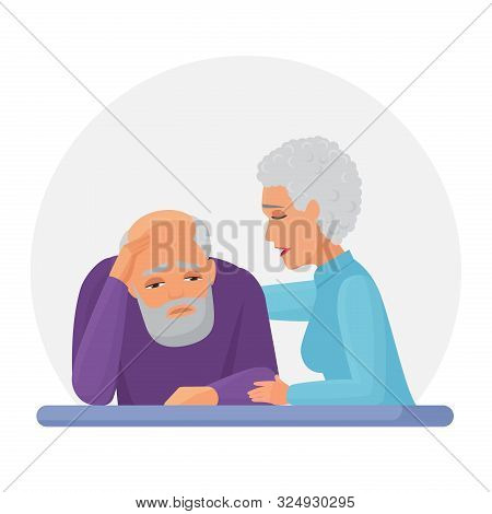 Wife Supporting Depressed Husband Flat Vector Illustration. Mental Disorder, Psychotherapy Concept.