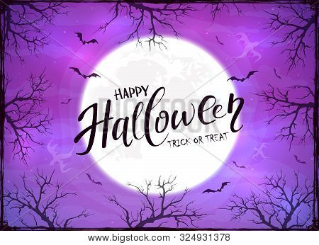 Happy Halloween And Ghosts On Purple Background