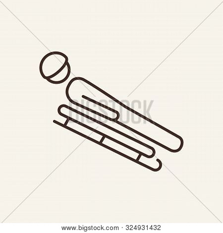 Bobsledder Line Icon. Winter, Bobsleigh, Sport. Winter Sport Concept. Vector Illustration Can Be Use