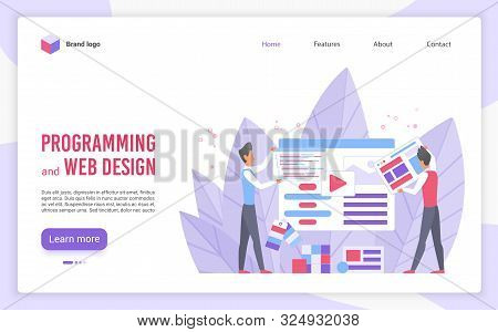 Programming And Web Design Flat Landing Page Vector Template. Website Optimization And Customization