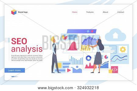 Seo Analysis Flat Landing Page Template. Website Traffic Increasing Webpage Design Layout. Web Analy