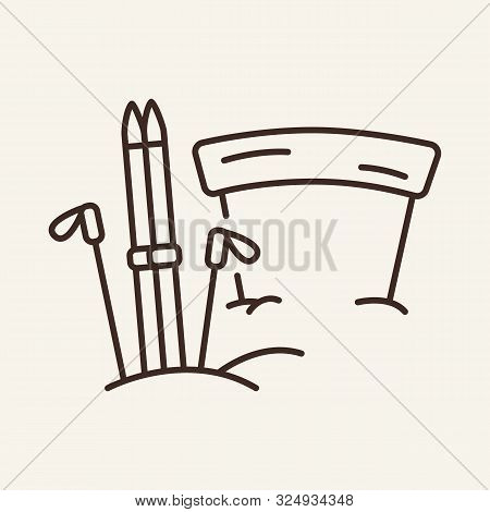 Skis In Snow At Finishing Belt Line Icon. Winter, Skis, Sport. Winter Sport Concept. Vector Illustra