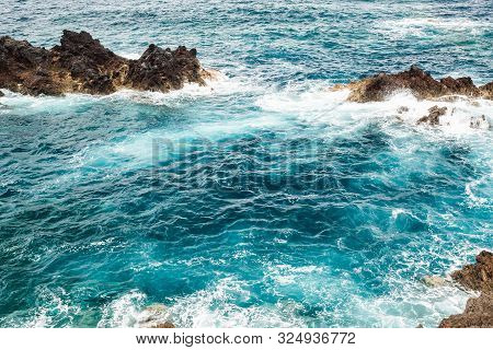 Blue Clear Water Near The Coast Of Madeira
