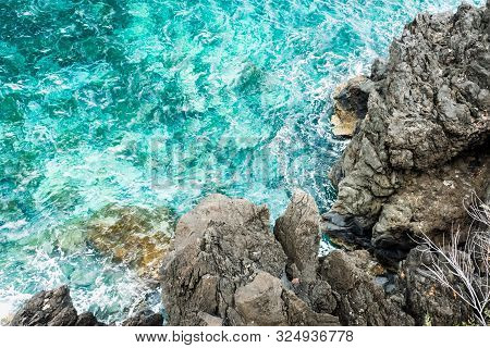 Turquoise Clear Water Near The Coast Of Madeira