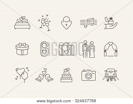 Marriage Ceremony Icons. Set Of Line Icons. Wedding Ring, Just Married Car, Balloons. Wedding Concep