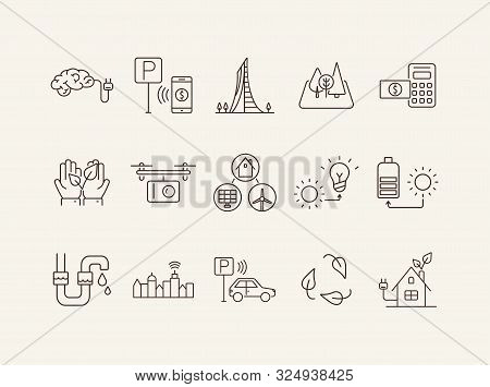 Modern Energy Source Icons. Set Of Line Icons. Quadcopter, Brain With Plug, Car Park Payment. Altern