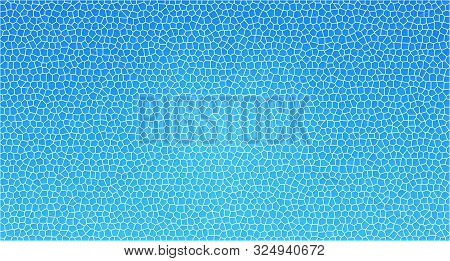 Blue Abstract Background With Broken Glass Window Imitation. Craked Surface Pattern Of Damaged Glass