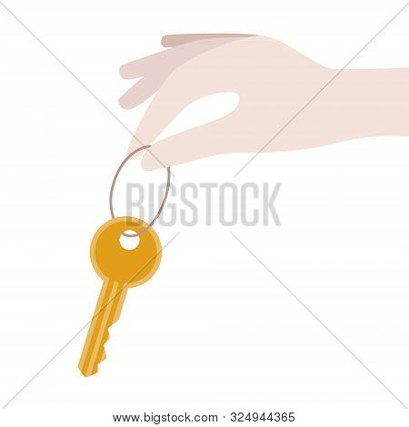 Buying, Rental Concept. Women Holding Key From New House, Flat. Business, Financial Illustration.