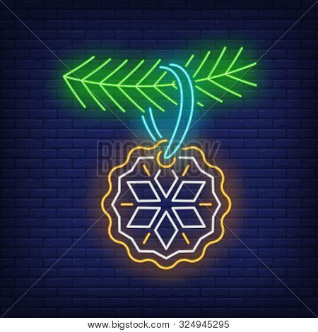 Christmas Cookie Neon Sign. Fir Tree, Bauble, Snowflake. Vector Illustration In Neon Style For Topic