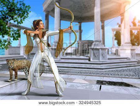 Artemis, Enchanting Ancient Greek Goddess Of The Hunt, In Shooting Pose With Bow And Arrow, 3d Rende