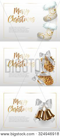 Merry Christmas Banner Set With Socks, Cones On White Ground. Calligraphy With Decorative Design Can